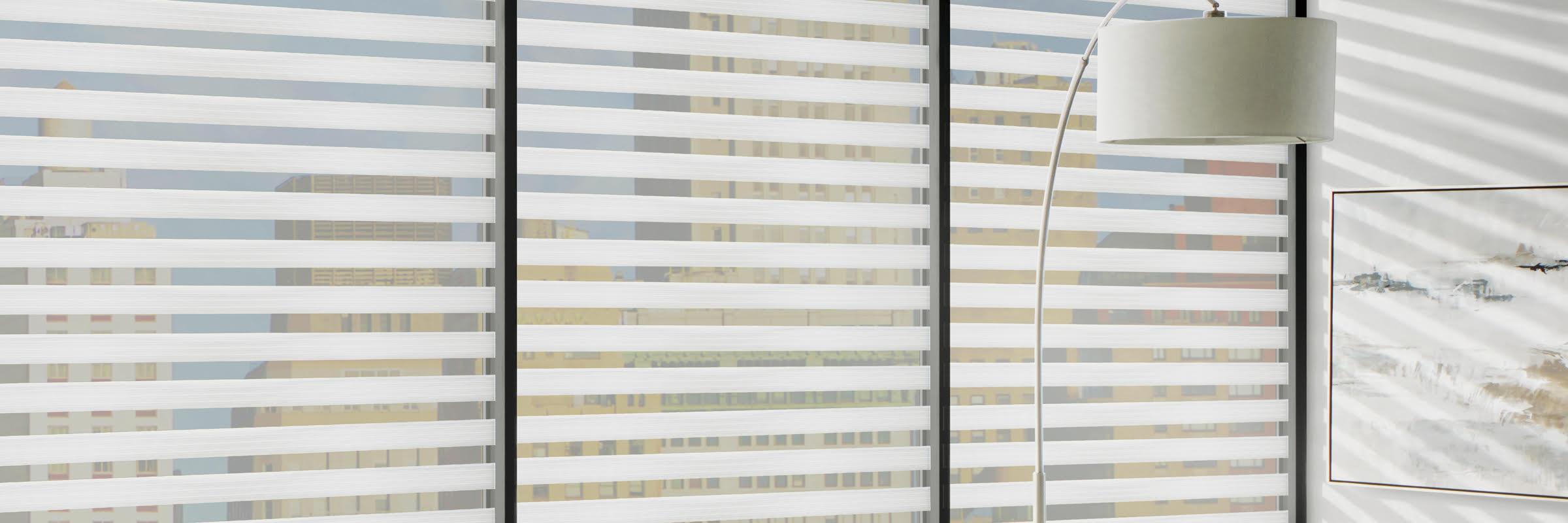 Banded sheer shades in Buckingham Organza - Designer Banded Shades