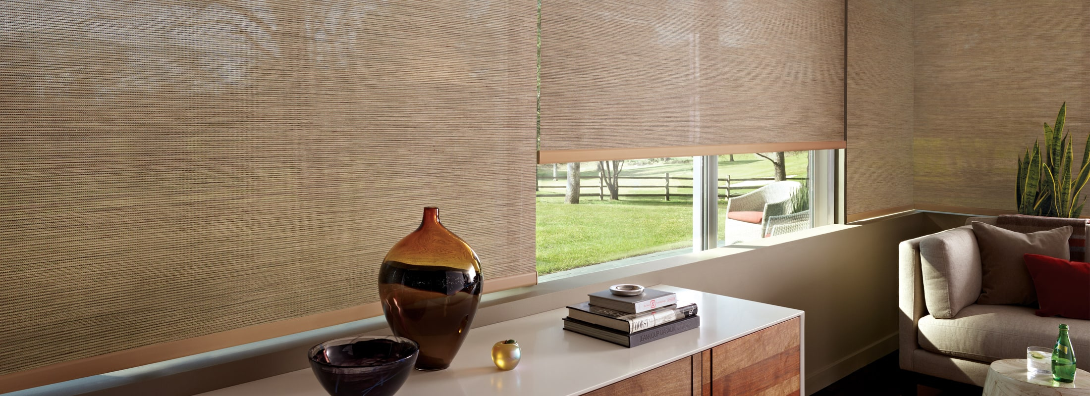 Patio roller shades in Indian Basket Willow Stick - Designer Screen Shades