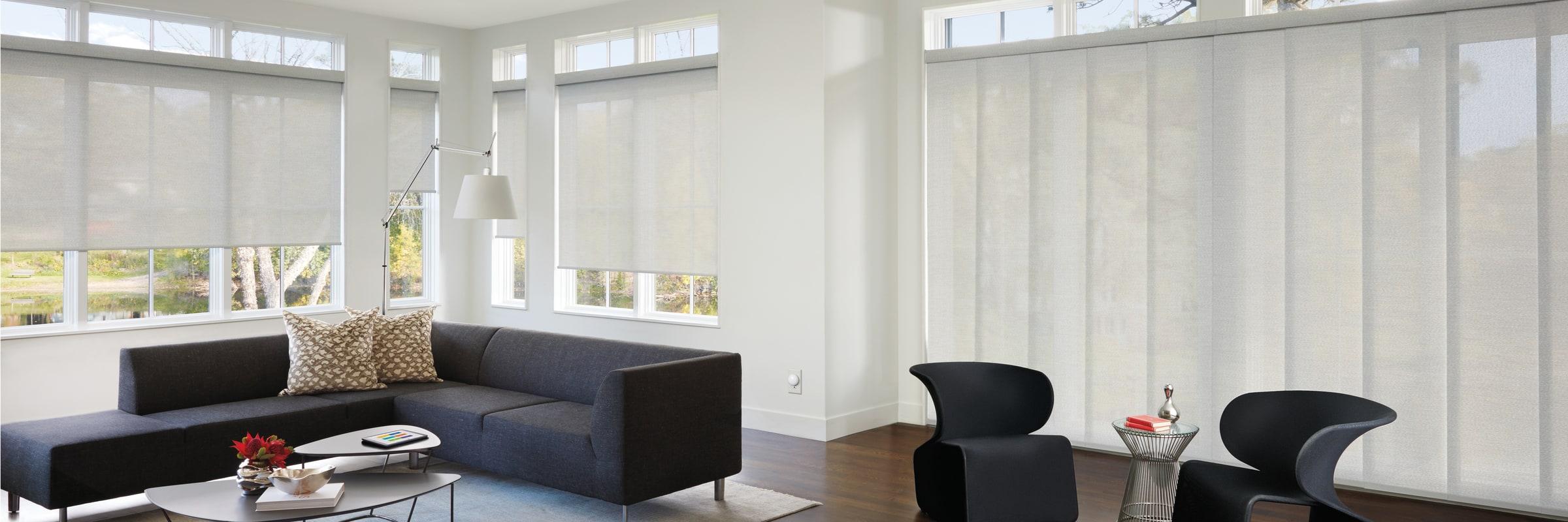 Solar screen shades in Barista White Mocha - Designer Screen Shades